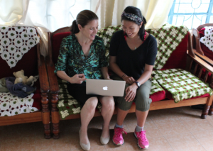 ICDR-Communications members, Cathy Cameron and Stefanie Hirano, at work in the field